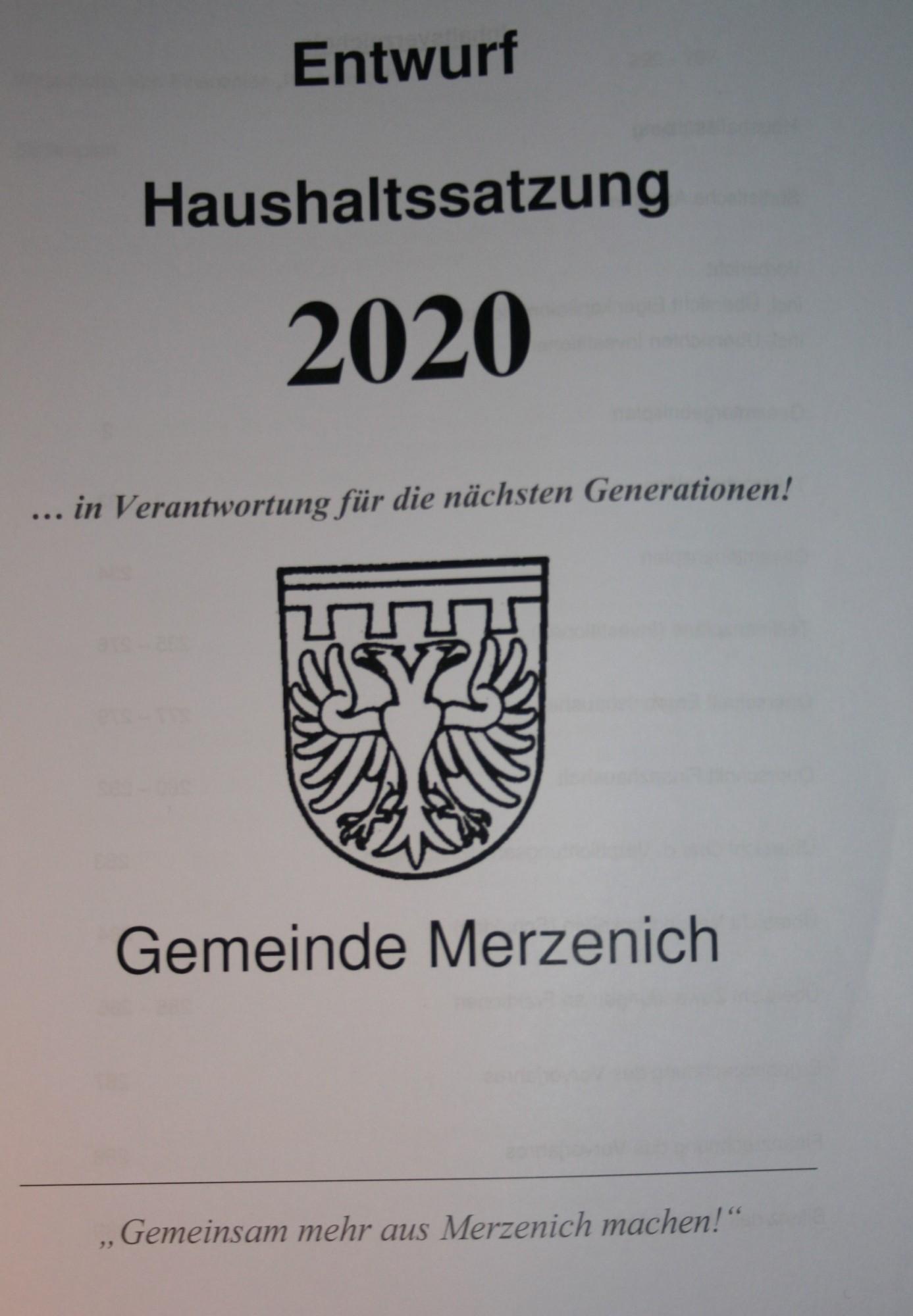 Haushalt 2020 eingebracht